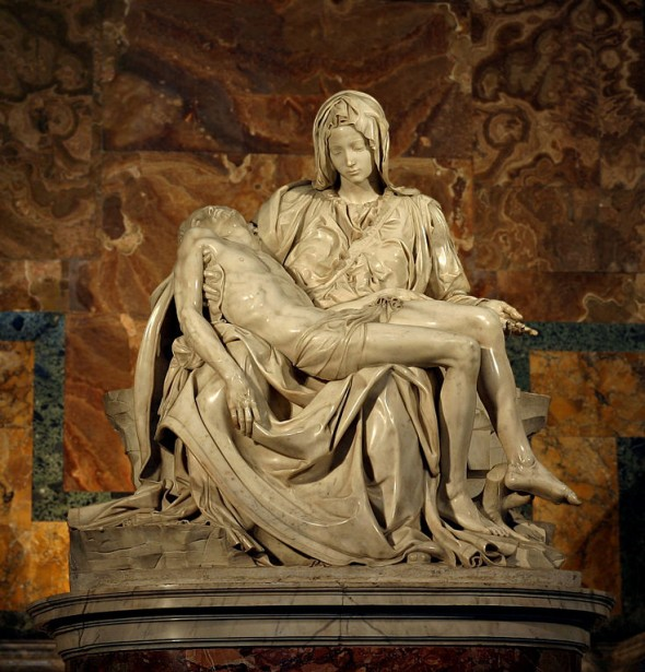 Why did michelangelo sculpt the mother figure in his pieta as a young woman