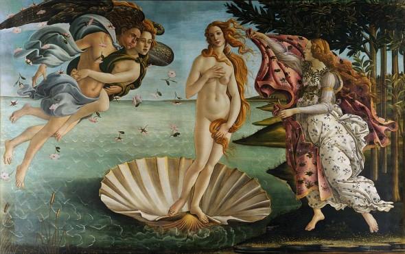 Botticelli Birth of Venus 450x230 Botticellis Birth of Venus