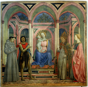 Example of an earlier sacra conversazione painting - Domenico Veneziano, St. Lucy Altarpiece, c. 1445