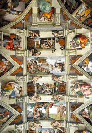 Michelangelo Sistine Chapel Ceiling wide 300x433 Michelangelos Painting of the Sistine Chapel Ceiling