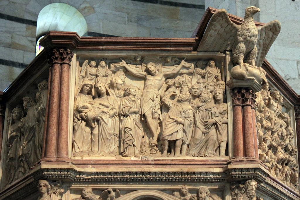 5042879504 7c7570908d b crucifixion depicted on Nicola Pissano Nicola Pisanos Baptistery Pulpit in Pisa